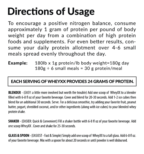 WheyXX Directions of Usage