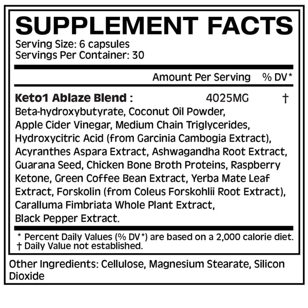 Keto1 Ablaze Supplement Facts